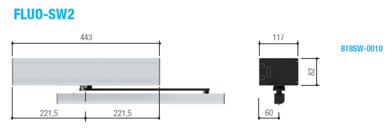 Размеры автоматики для открывания дверей FLUO-SW2