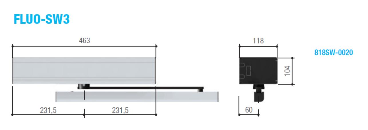 Размеры автоматики распашных дверей FLUO-SW3