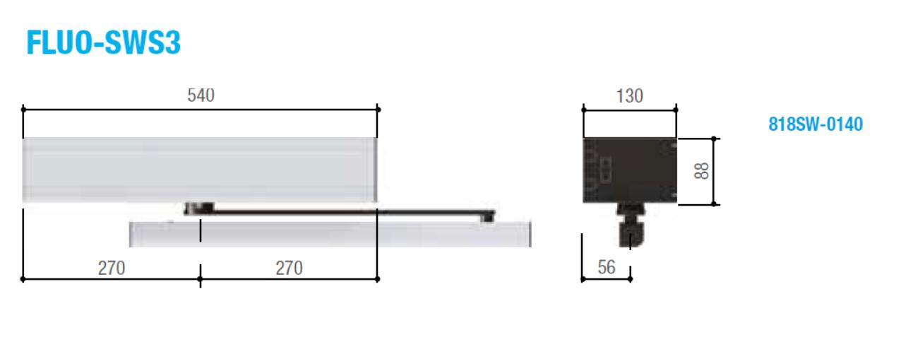Размеры короба автоматических распашных дверей FLUO-SWS3